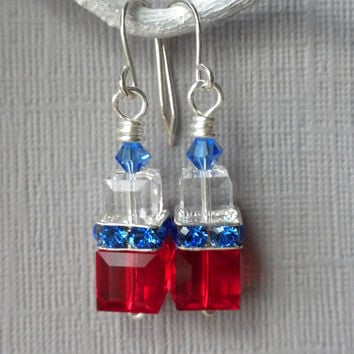 Fourth of July Earrings, Red White and Blue Earrings, Swarovski Cube Earrings, Holiday Earrings, Independence Day Earrings, Crystal Earrings