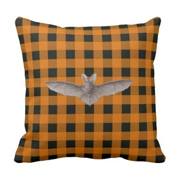 Orange and Black Gingham With Brown Bat Throw Pillow