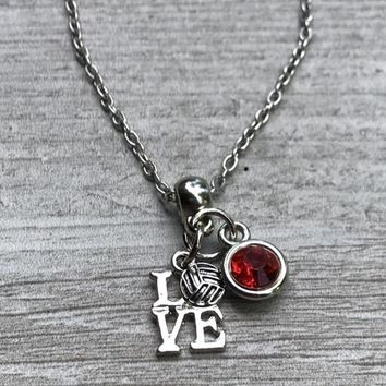 Personalized Love Volleyball Charm Necklace with Birthstone