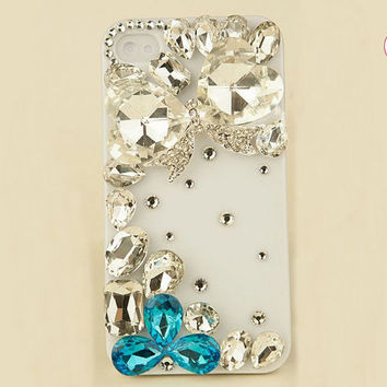 Free Phone Case &  Huge Alloy Diamond Bowknot Rhinestone DIY Deco Kit Decoden Kit Cabochon Deco Kit For DIY Cell Phone iPhone 4G 4S 5 Case