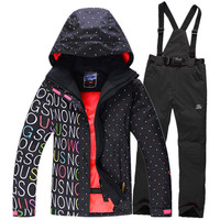 Free shipping Winter Women's Ski Suit Jackets Set Outdoor Sprot Warm Skiing Jacket and Pants Windproof Snow Wear Thicker coat