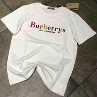 Burberry 2018 new fashion men and women tide brand classic T-shirt short sleeve F-AA-SYSY White