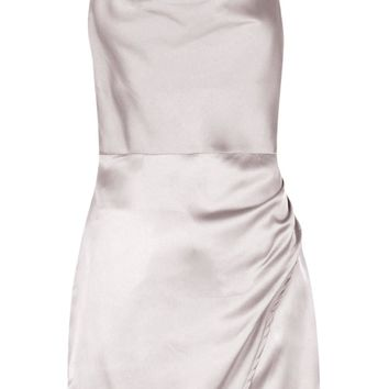Tia Cowl Neck Wrap Front Luxe Satin Mini Dress | Boohoo