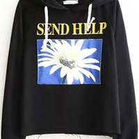 Black Daisy Raglan Sleeve Hooded Sweatshirt