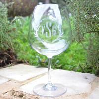 Monogrammed Plastic Red Wine Glasses - set of 6