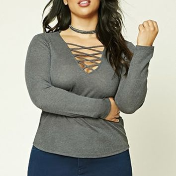 Plus Size Strappy V-Neck Top