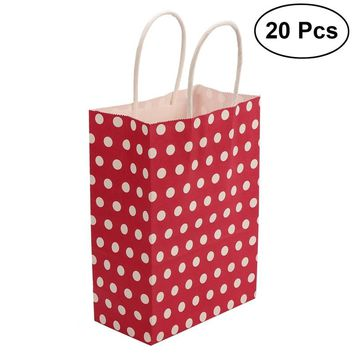 20pcs Kraft Paper Bags with Handle Party Gift Bag Birthday Wedding Graduation Baby Shower Christmas Shopping Favor Present Bag Wrapping Bags