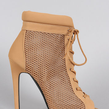 Qupid Mesh Lace Up Booties