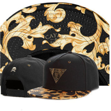 Cayler & Sons Gold Gate Design Illuminati Triangle Black Baseball Cap Snapback Hat