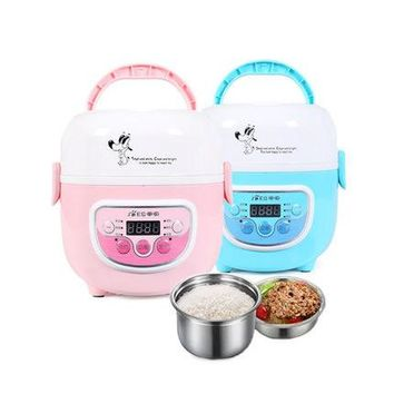 1.3L Mini Rice Cooker Electric Double Boilers Small Rice Cooker Keep Wram Food Container Mini Cooker for School Offce Home