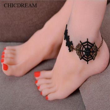 Barefoot Sandals Beach Pool Wear Toe Ring Anklet Spiderweb Nudeshoes Foot jewelry Vict