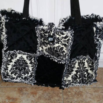 Handmade Black And beige rag quilt bag/tote/diaper bag/ accessory / baby