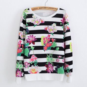 Printed striped long-sleeved sweater