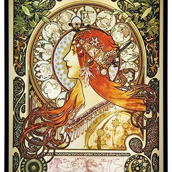 Zodiac Lady Art Nouveau Stained Glass by Mucha 12H