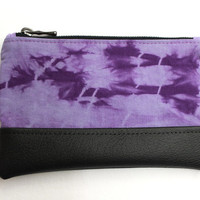Violet Pouch, Tie Dye Purse, Shibori Clutch, Purple Pouch, Pencil Case, Zipper Pouch, Violet Clutch, Hand Dyed Pouch, Cosmetic Bag