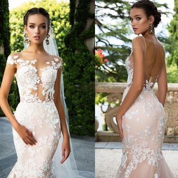 BRN Real Photo Destido De Noiva Sexy Backless Flower Wedding Dress Champagne Color Fish Tail Long Me