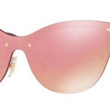 RAY BAN 3580N 3580/N 43 043/E4 BLAZE CATS GOLD SUNGLASSES PINK PINK GOLD SOLE