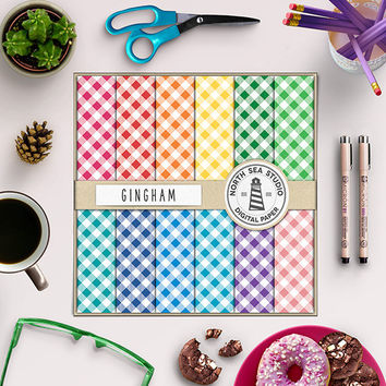 Gingham Digital Paper Colorful Gingham Checked Pattern Gingham Check Rainbow Colors Picnick Table Cloth Red Blue Green Aqua Pink Navy 12x12