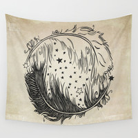Feather Yin Yang Wall Tapestry by Precious Beast