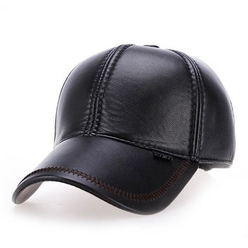 Trendy Winter Jacket VORON 2017 new High quality Faux Leather hat genuine winter leather hat baseball cap adjustable for men black hats AT_92_12