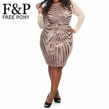 XL XXL XXXL Plus Size Women Sequin Dress Long Sleeve O-Neck Geometric Sequins Red Female Midi Big Large Size Evening Party Dress