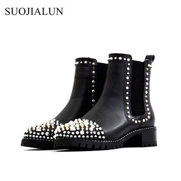 SUOJIALUN Women Ankle Boots Genuine Leather Rivets Brand Boots Retro British Chelsea Boots Med Heel Shoes Casual Martin Boots