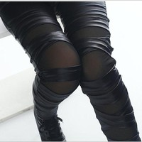 lady immitation leather leggings black white blue cross pants for women leggings summer patchwork mesh capris