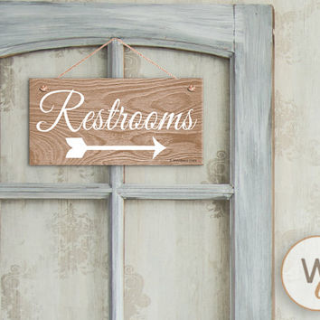 "Restrooms Sign, Rustic Wedding Sign,  Weatherproof, 5"" x 10"" Sign, Light Wood Grain with Arrow, Guide Sign For Wedding or Parties"