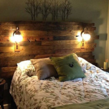 "Pallet Wood Headboard - Rustic/Industrial/Artistic - Repurpose, Reuse, Recycle. ""Inferno"" Series"" VERY unique! Sorry, No Shipping."