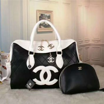 CHANEL Women Shopping Bag Leather Tote Handbag Shoulder Bag Two Piece Set G-LLBPFSH