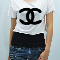 COCO CHANEL  brushing paintingT Shirt Tank Top Midriff Top women handmade silk screen printing