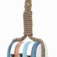 """Benzara 21""""H Wood Rope Nautical Decor with Bright Color"""