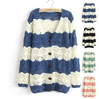 Spell Color Long-Sleeved V-Neck Cardigan Jacket -blue