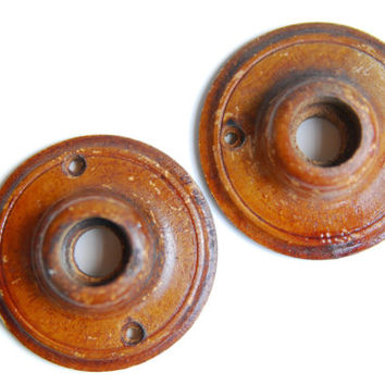FREE SHIPPING Vintage Antique Set Wood Rosettes for Doorknobs