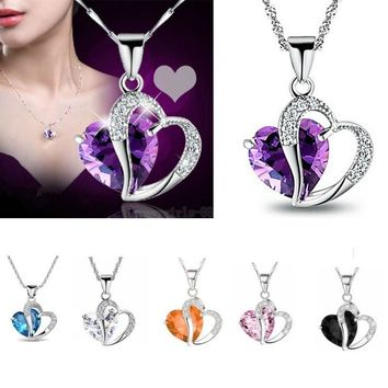 1PCS Womens 925 Sterling Silver Plated Necklace Chain Amethyst Crystal Heart Pendant,Gift,Cute