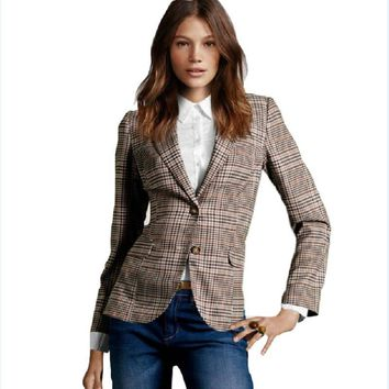 Women's Plaid Elbow Patches Slim Blazer Ladies Autumn Suits Basic Jacket Casual Blazer