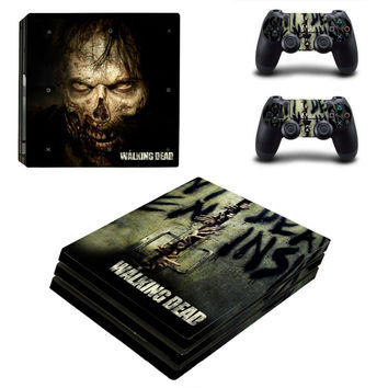 The Walking Dead PS4 Pro Skin Sticker Decal For Sony PS4 Pro Console and 2 Controllers Stickers