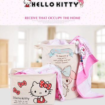 Hello Kitty Laundry Basket My Melody Canvas Folding Washing Storage Barrels Hamper Storage Dirty Clothing Bag Toy B54