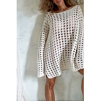 Vintage Slouchy Crochet Fishnet Sweater