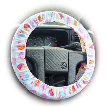 Cupcake print car Steering wheel cover by PoppysCrafts on Etsy