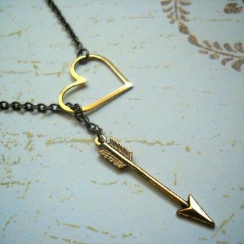 Free shipping. Love Struck. Brass Heart and Arrow Lariat Necklace.