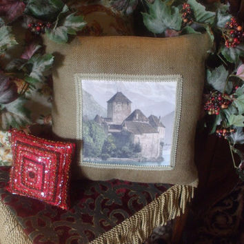 Handmade Chateau de Chillon Swiss Alps Trimmed Burlap Throw Pillow