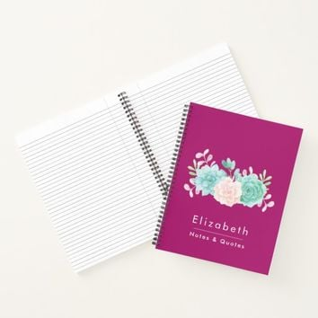 Pastel Pink & Green Floral Bouquet on Magenta Back Notebook