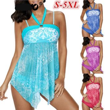 Mesh Palmette Damask Plus Size Halter Tankini Swimwear Swimsuit Bathing Suit Bathing Swimsuits