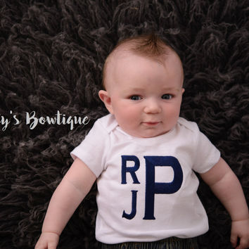 Baby Boy Monogram Bodysuit or Kids T Shirt -- Sizes 3 Month to Youth XL