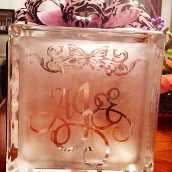 Etched monogrammed glass night light