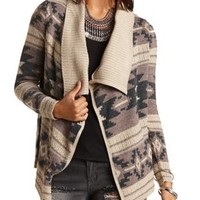 Aztec Cascade Cardigan Sweater by Charlotte Russe - Taupe Combo