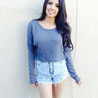 Charcoal Crop Sweater