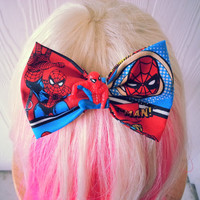 spiderman hair bow / fabric hair bow / Marvel hair bow / comic hair bow / spiderman / spider man hair bow / spiderman hair bow clip