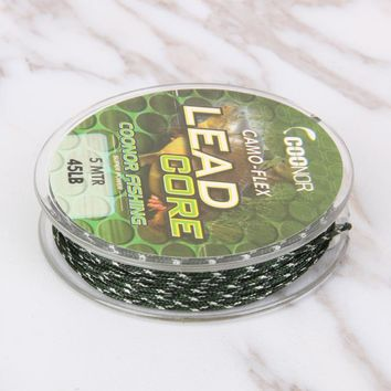 45lb 5m Fishing Line Leadcore Camouflage Carp Braided Line Hair Rigs Lead Core Tackle Fishing Accessories